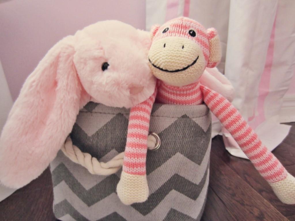 Pink & White Nursery Toy Bin