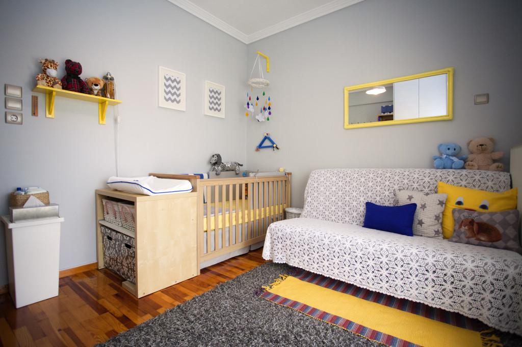 Boy Gray and Yellow Nursery Room