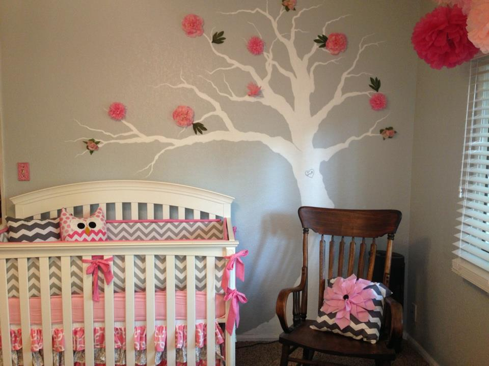 Pink and Gray Girl Nursery Tree Decal