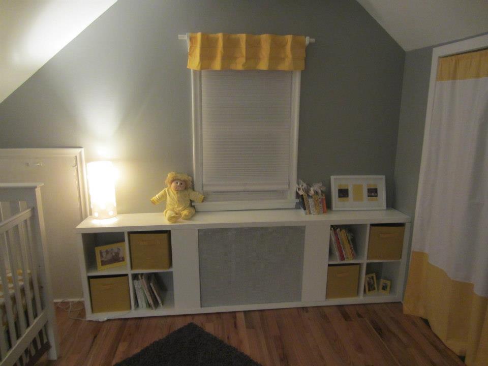 Grey, Yellow, Striped Nursery Room View