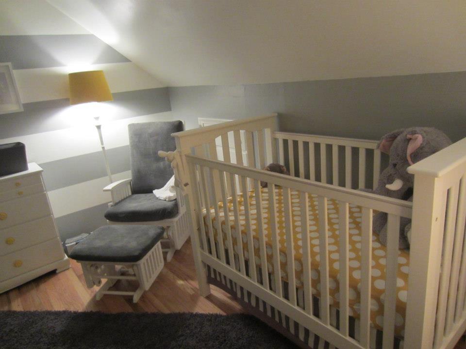 Grey, Yellow, Striped Nursery Crib View