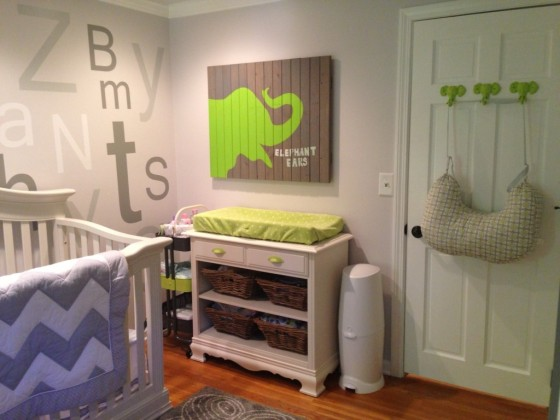 Lime and Gray Nursery with ABC wall - Project Nursery