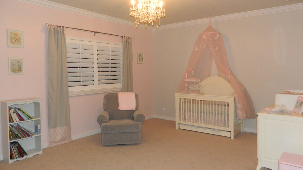 Pink and Gray Girl Nursery Side View