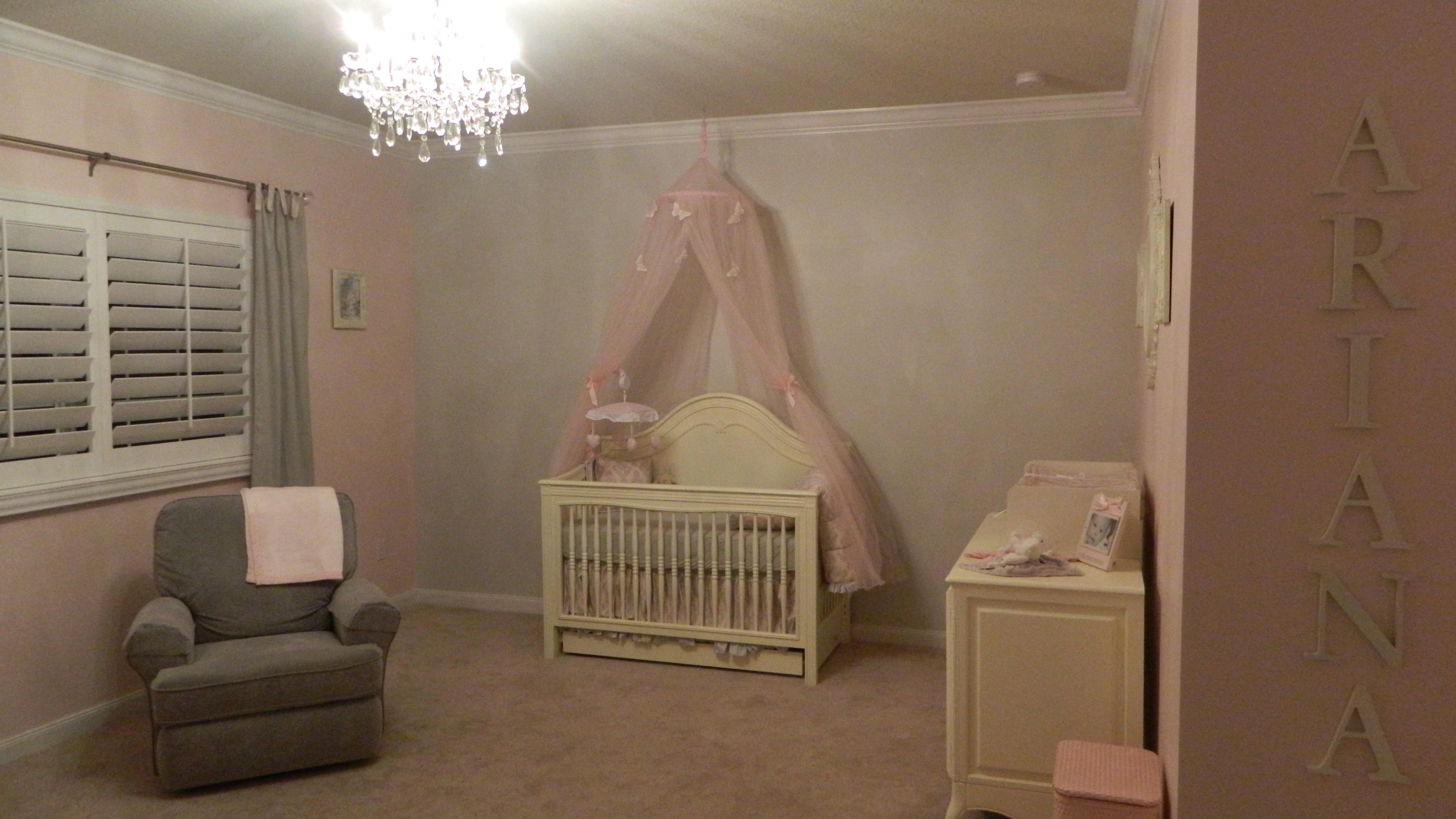 Pink and Gray Girl Nursery Crib