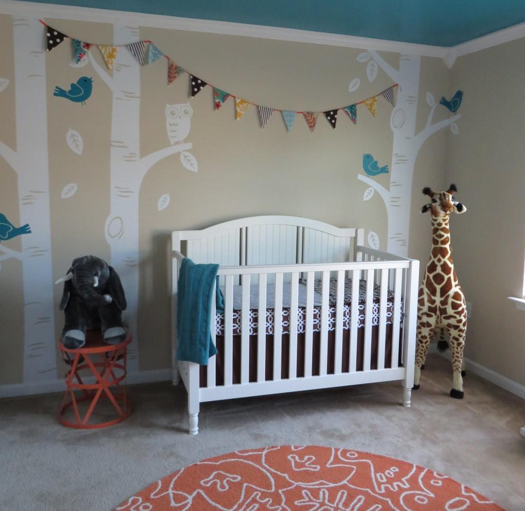 Turquoise, Teal Animal Nursery Crib View