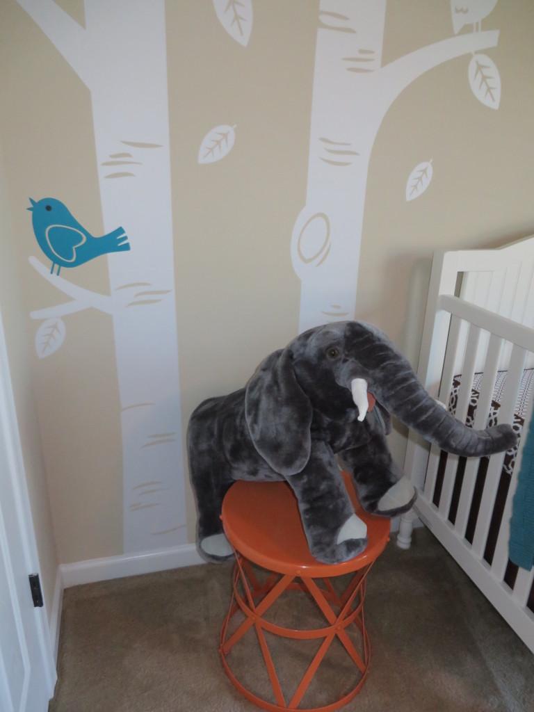 Turquoise, Teal Animal Nursery Elephant