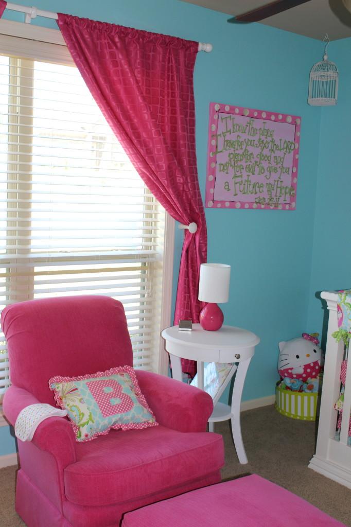 Girl Aqua and Pink Nursery Hot Pink
