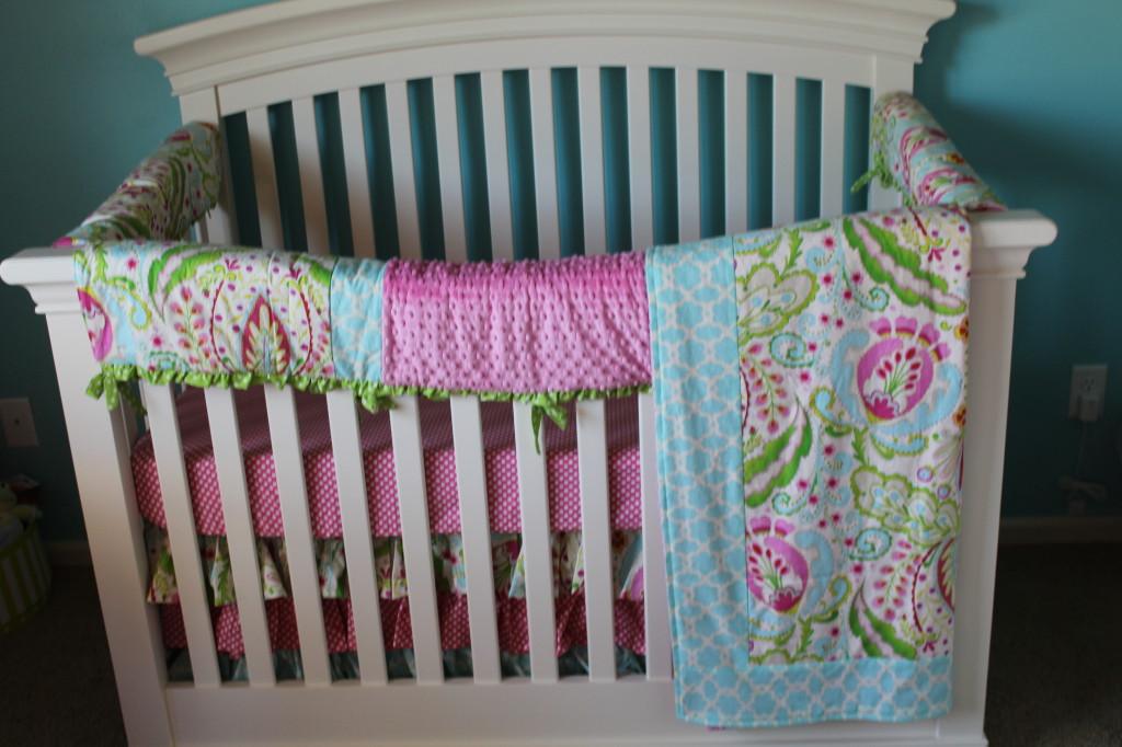 Girl Aqua and Pink Nursery Crib