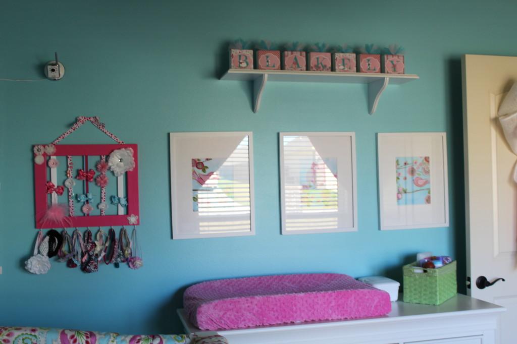 Girl Aqua and Pink Nursery Changer