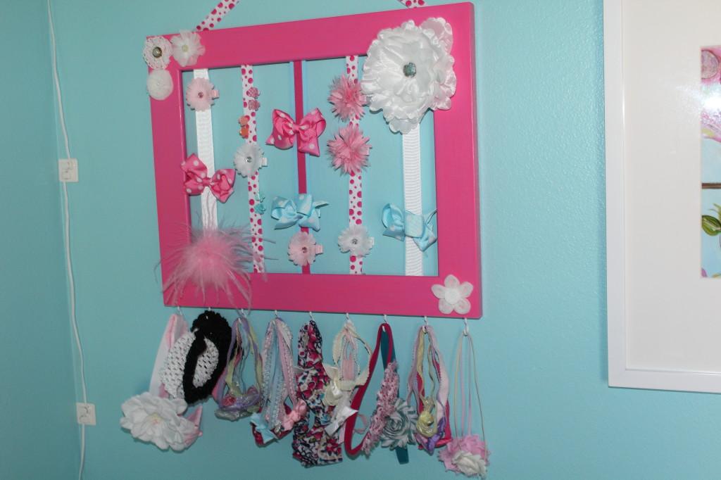 Girl Aqua and Pink Nursery Hair Bow