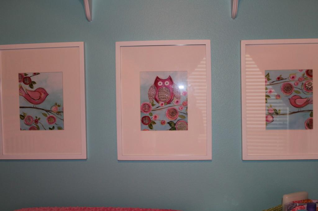 Girl Aqua and Pink Nursery Wall Art