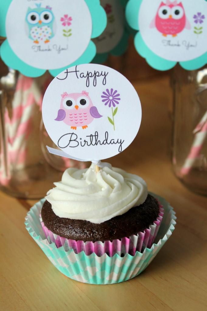 Owl Themed 2nd Birthday Party Cupcake Printable
