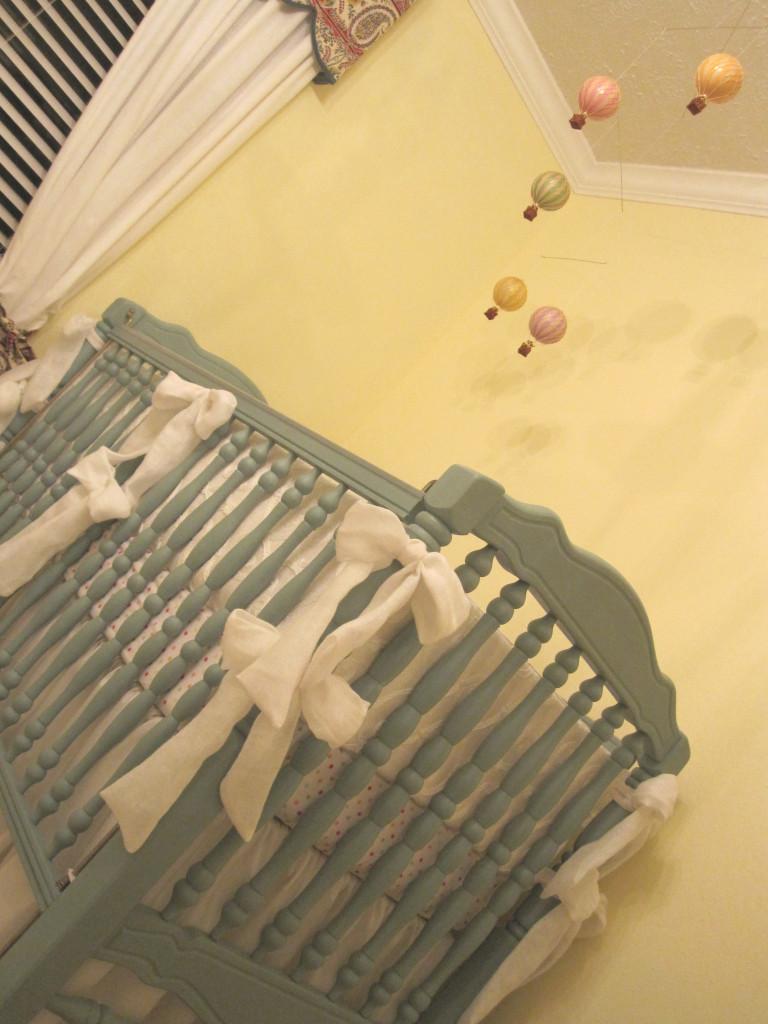 Hot Air Balloon Theme Nursery Crib View