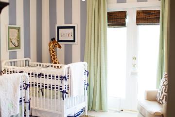 Twin Boy Striped Gray Nursery Room View