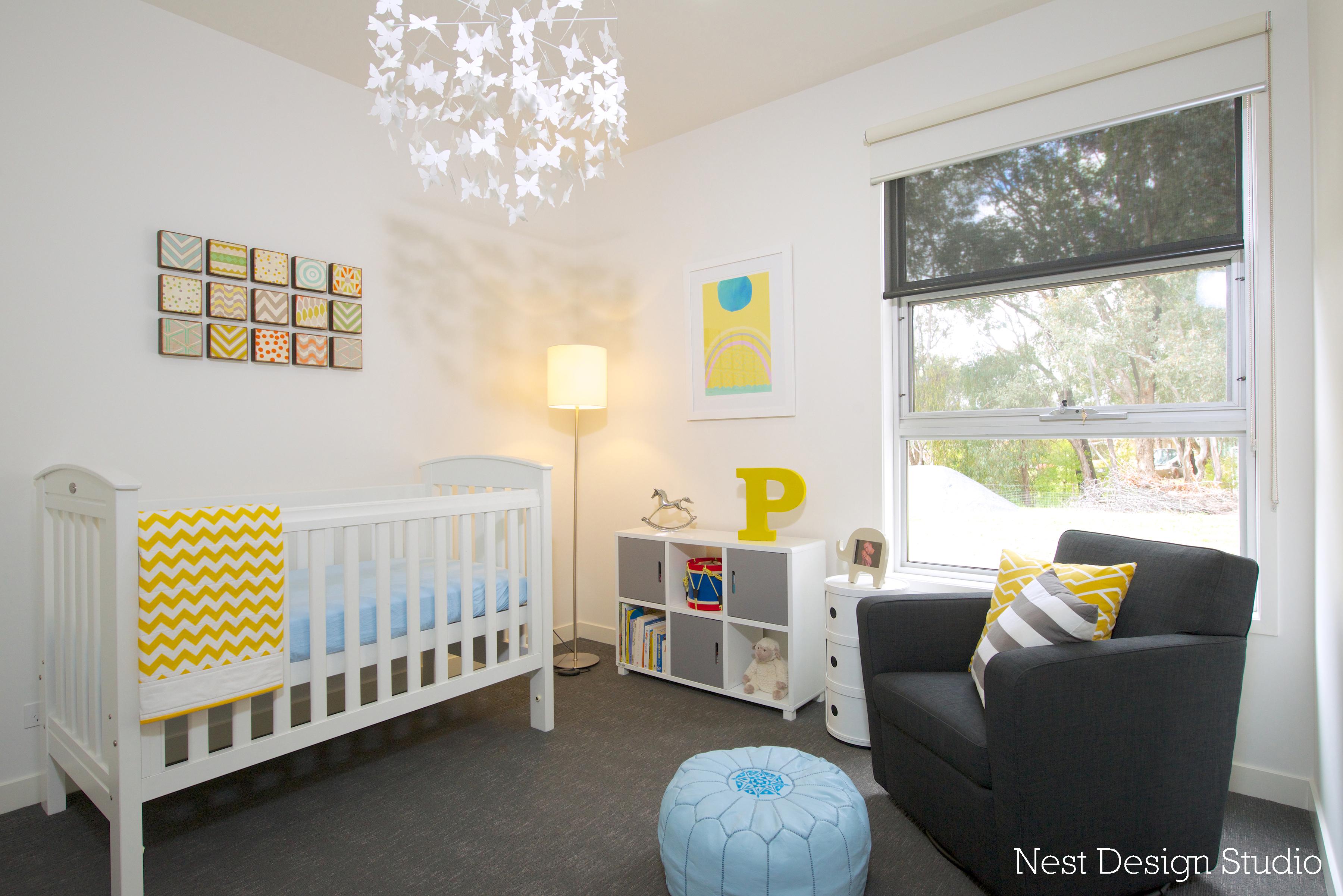 Boy Gray and Yellow Nursery Room View
