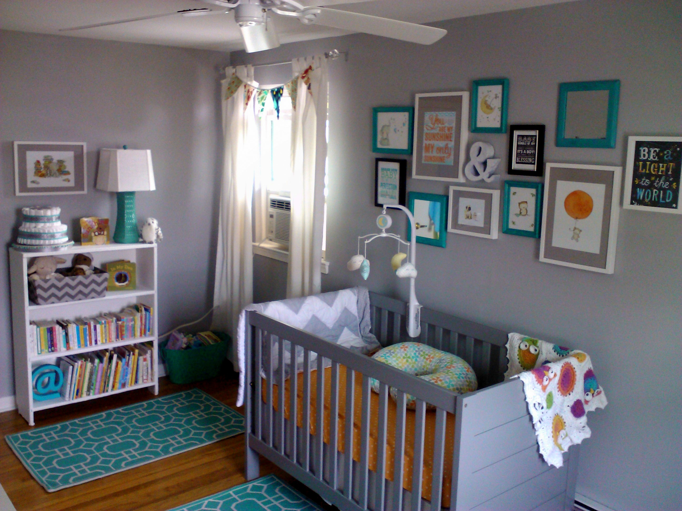 Eclectic Gray and Turquoise Nursery Crib View