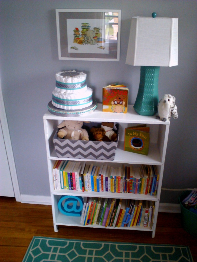 Eclectic Gray and Turquoise Nursery Bookshelf