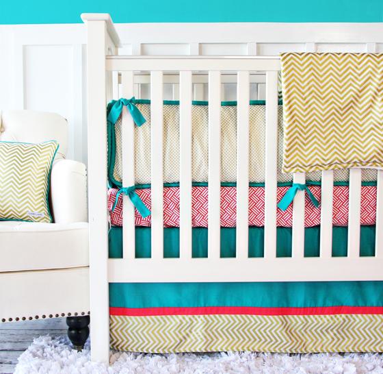Caden Lane Gold Chevron Crib Bedding
