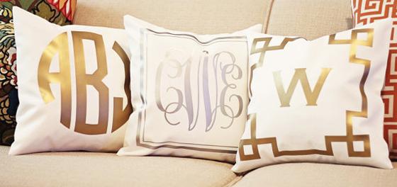 Gold Monogrammed Pillows