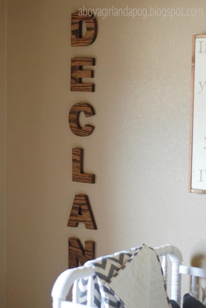 Vintage Gray Nursery Monogrammed Wall