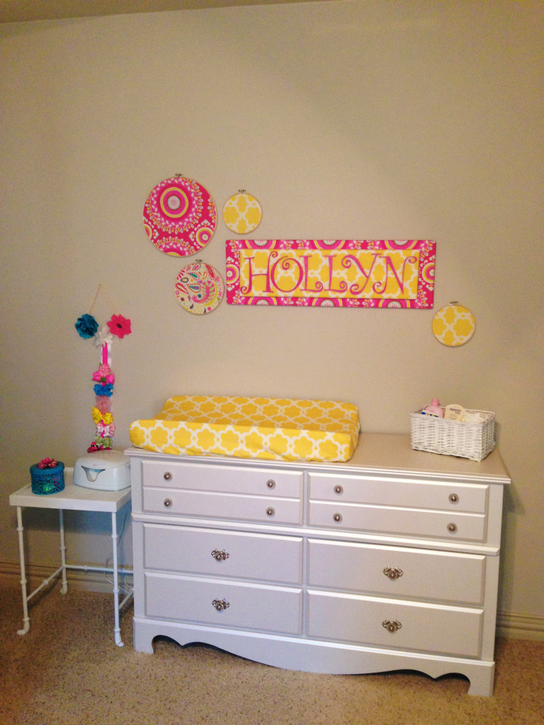 Aqua and Pink Nursery Changer