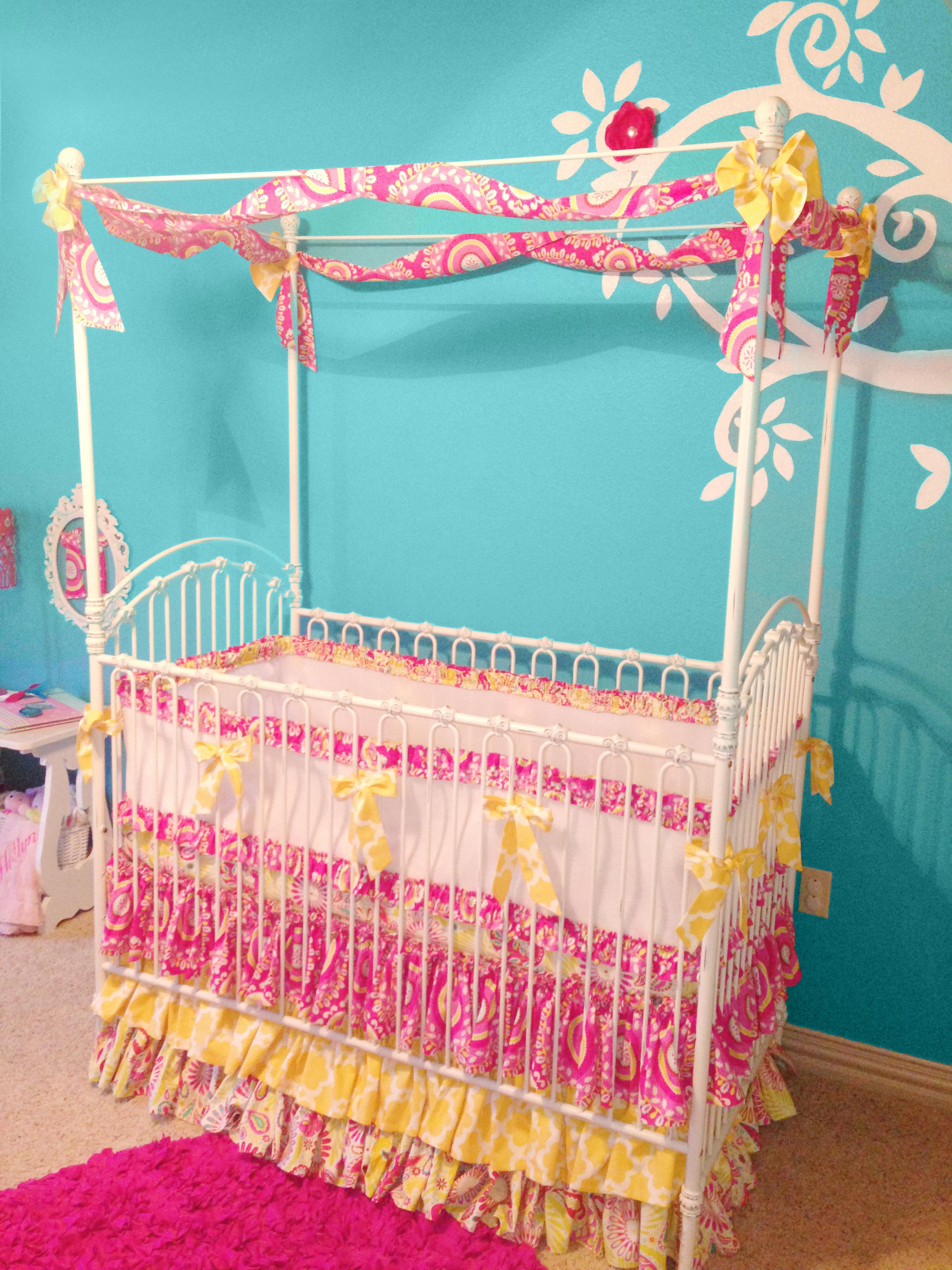 Aqua and Pink Nursery Canopy Crib