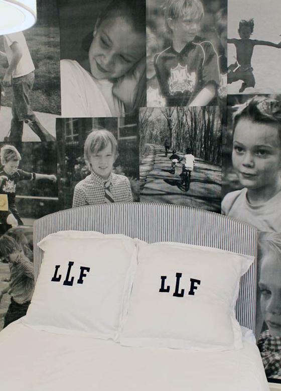 Photo Wall behind bed