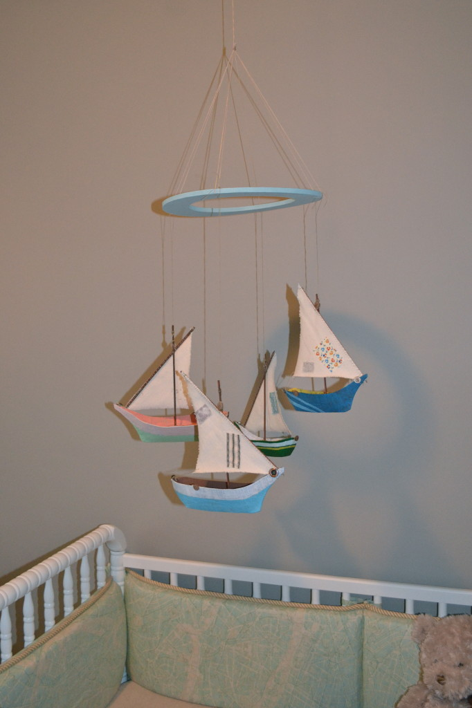 Boy LIght Blue and Gray Nursery Sailboat Mobile