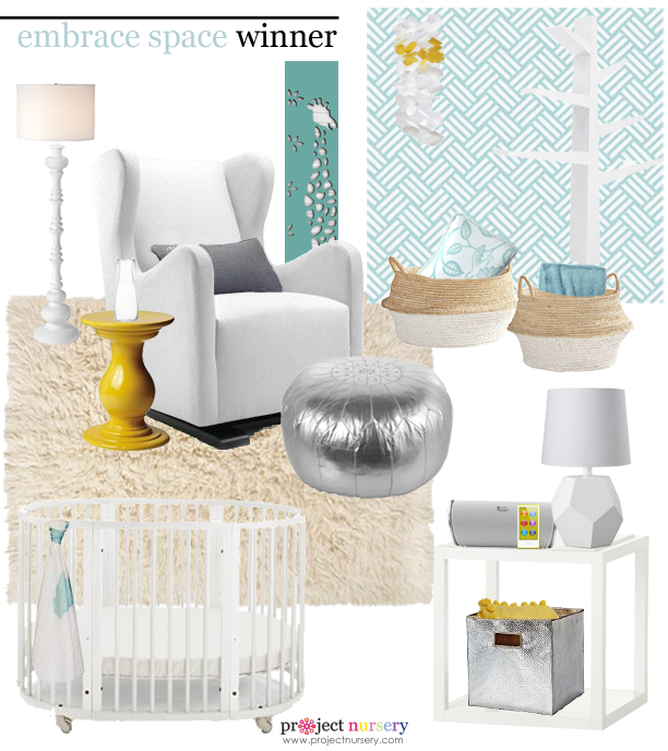 Aqua and Yellow Gender Neutral Nursery Design Board