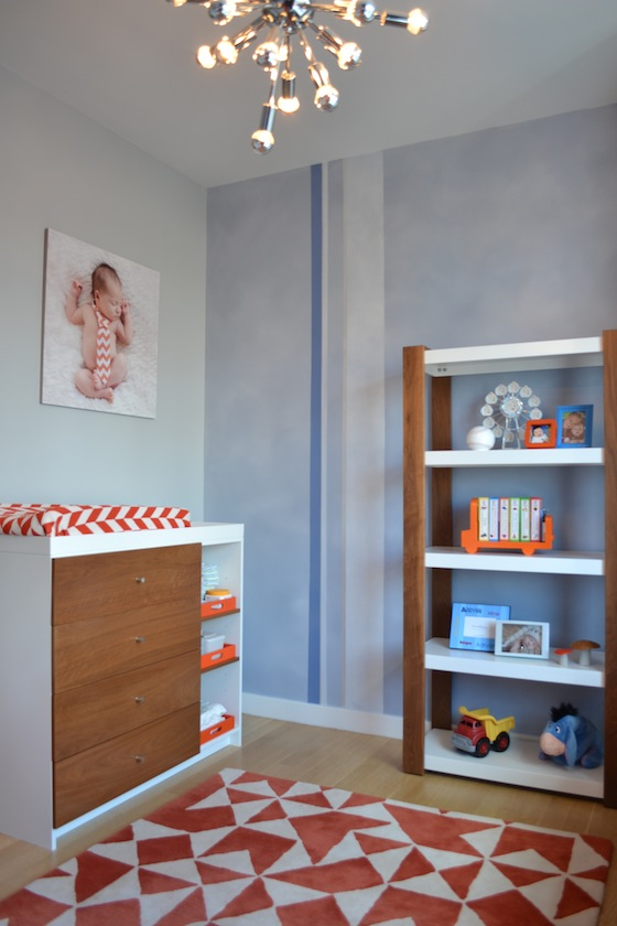 Sputnik Lighting Fixture in Blue and Orange Nursery