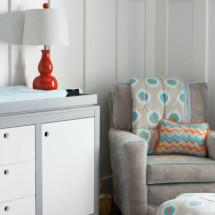 orange, gray and blue nursery