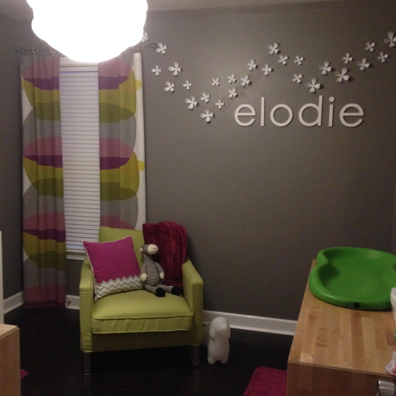 Gray Modern Girl Nursery Room View