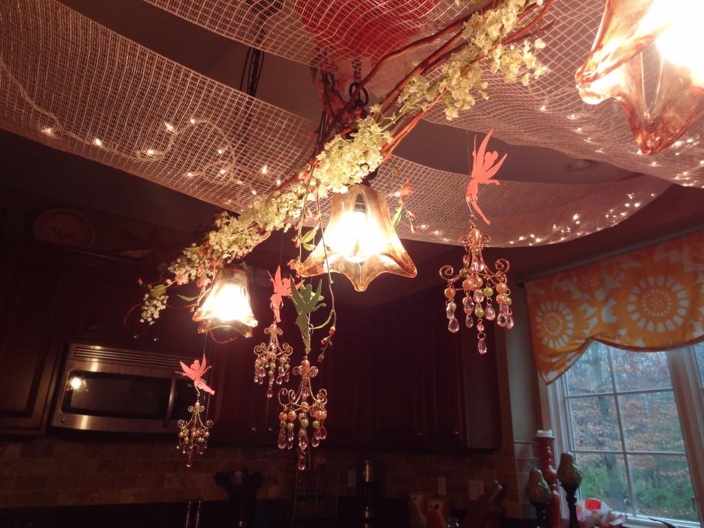 Little Fairies Dangling from Kitchen Chandelier