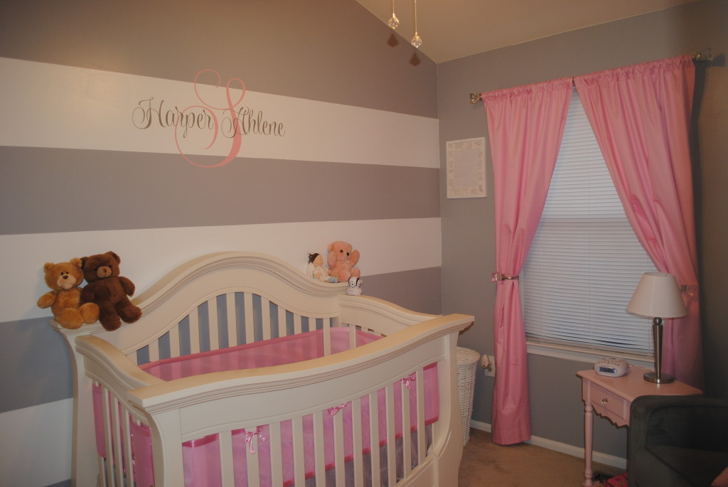 Grey and White Striped Baby Nursery Wall