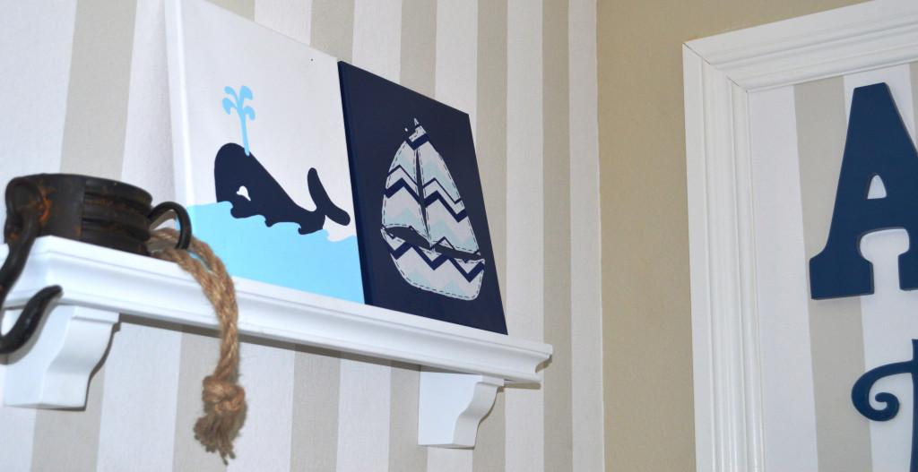 Whale and Sailboat Nursery Art