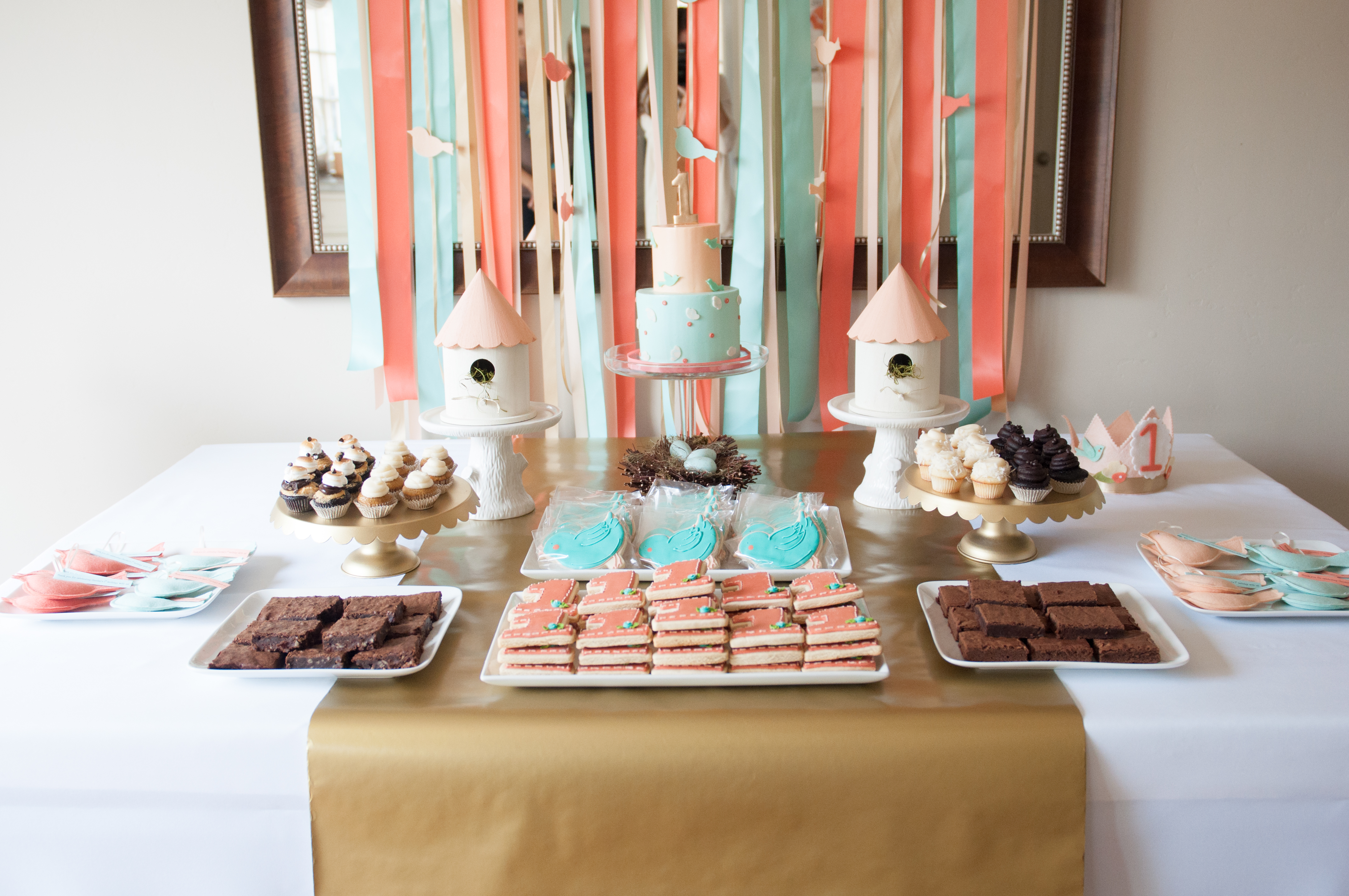 First Birthday Birdie Themed Dessert Table