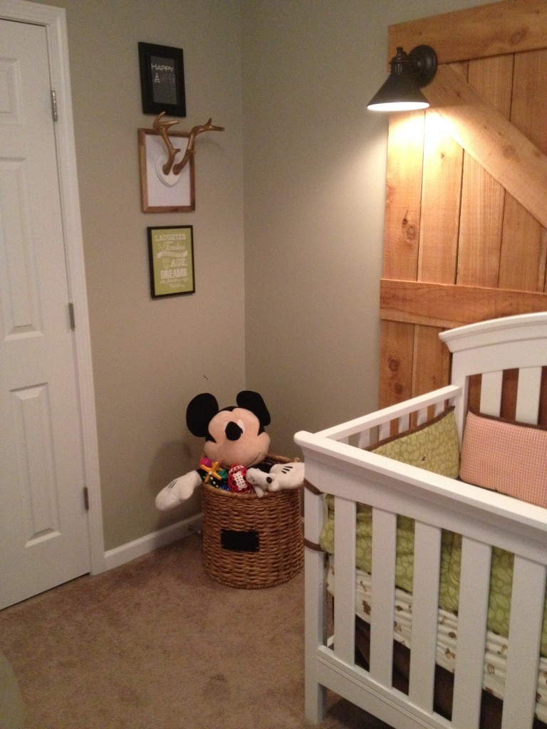 Deer Antlers in Frame and Mickey Mouse Plush