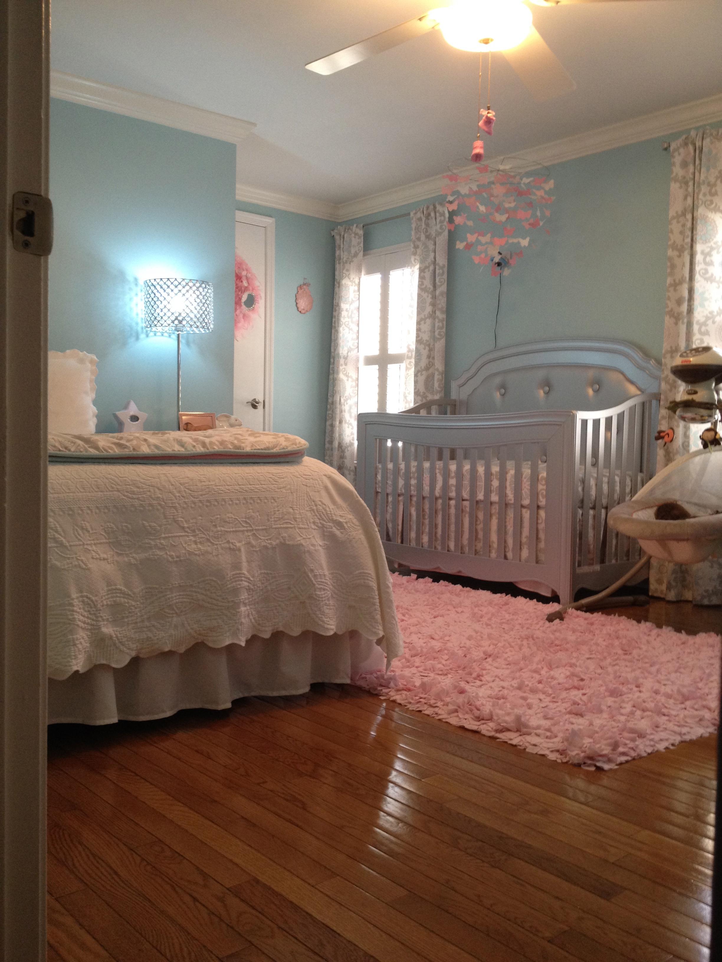 Aqua, Pink and Grey Baby Girl Nursery