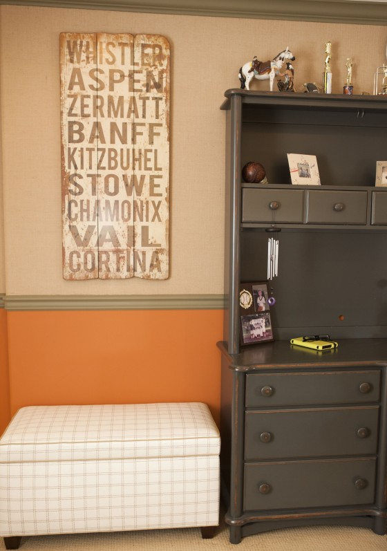 Orange and Brown Hunting Themed Room with Rustic Sign - Project Nursery