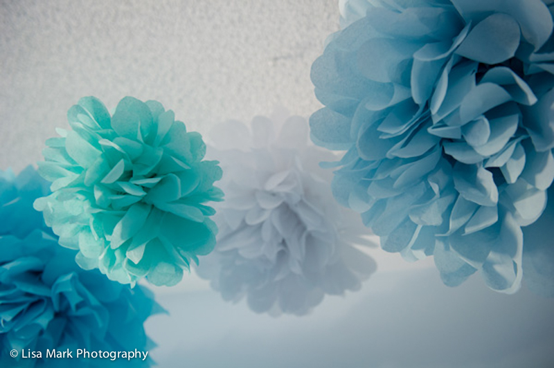 White, Blue and Aqua Paper Poms