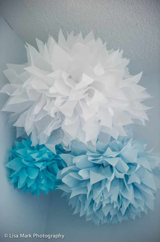Aqua, White and Blue Paper Poms