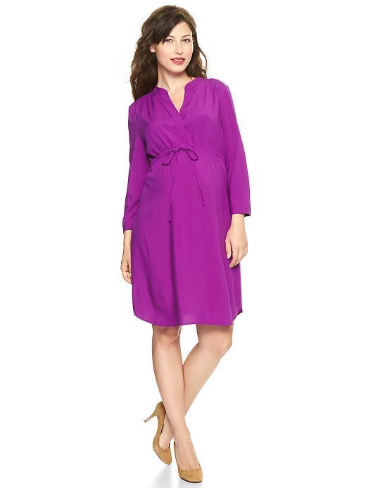 Purple Split-Neck Maternity Dress From Gap