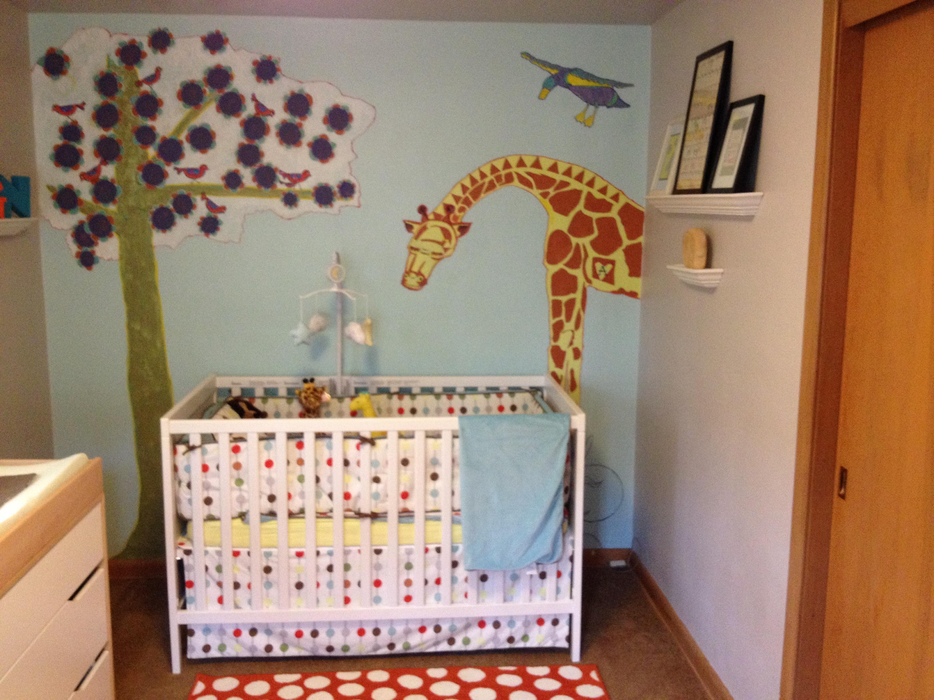 Giraffe Painted Nursery Wall