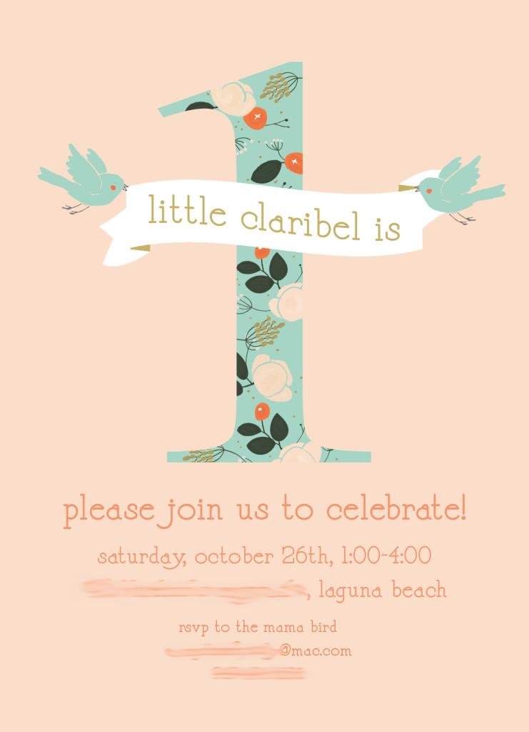 Peach First Birthday Birdie Invitation