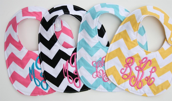 Personalized Chevron Bibs