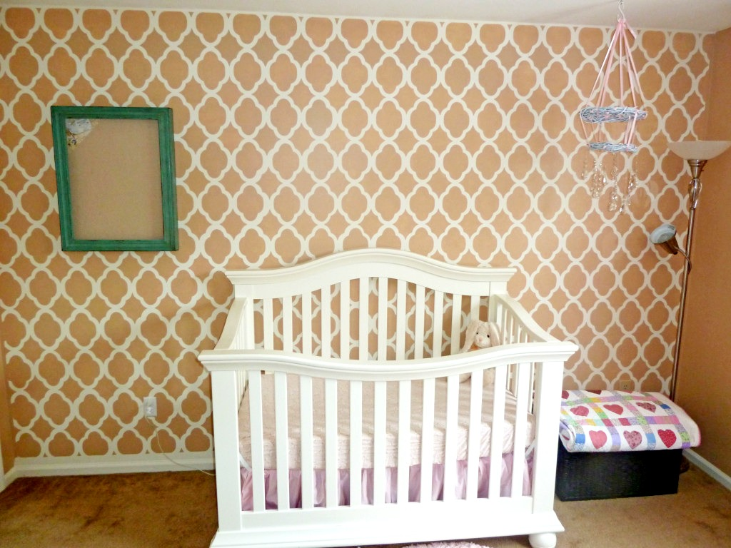 Girl's Nursery with Moroccan Stencil Accent Wall - Project Nursery