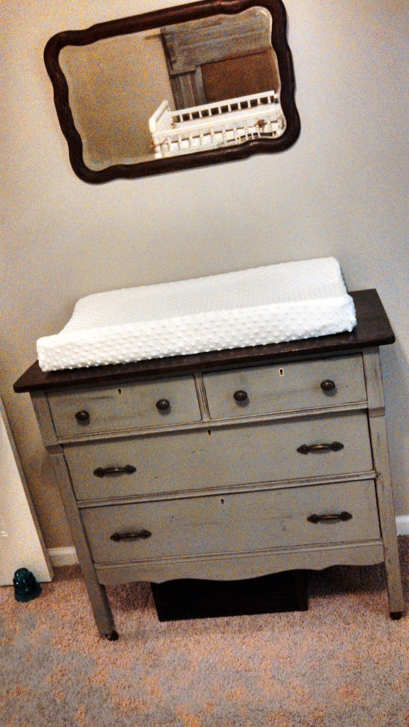 Antique Chest Used as Diaper Station