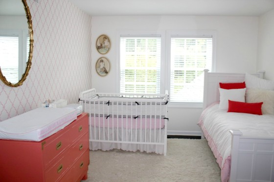 Coral and White Antique-Inspired Girl's Nursery - Project Nursery