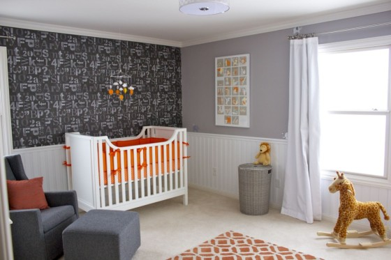 Modern Orange, Gray and White Nursery - Project Nursery