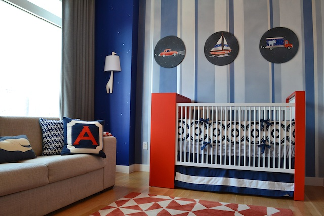 Modern Blue and Orange Transportation Nursery
